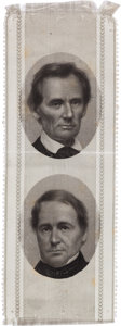 Political:Pinback Buttons (1896-present), Lincoln & Hamlin: Choice 1860 Jugate Ribbon with Brady Photos....