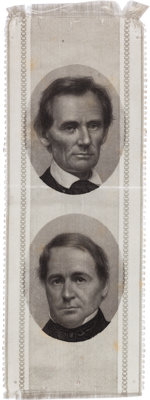 Lincoln & Hamlin: Choice 1860 Jugate Ribbon with Brady Photos
