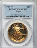 Modern Bullion Coins, 1987-W G$50 One-Ounce Gold Eagle Deep Cameo PR70 PCGS. PCGS Population (511). NGC Census: (1348). Numismedia Wsl. Price fo...