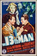 "The 13th Man (Monogram, 1937). One Sheet (27"" X 41""). Mystery"
