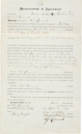 Autographs:Others, 1874 Andy Leonard Boston Red Stockings Player's Contract Signed byLeonard & Harry Wright....