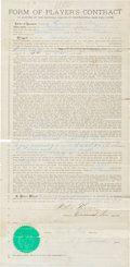 Autographs:Others, 1880 Andy Leonard Cincinnati Stars/Reds Player's Contract Signed byLeonard....