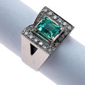 Estate Jewelry:Rings, Retro Green Beryl, Diamond, Platinum Ring. ...