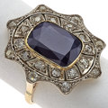 Estate Jewelry:Rings, Sapphire, Diamond, Silver-Topped Gold Ring. ...