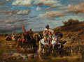 Fine Art - Painting, American:Contemporary   (1950 to present)  , Manner of Adolf Schreyer. Returning Raiders. Reproduction oncanvas. 35-1/2 x 47-1/2 inches (90.2 x 120.7 cm). PROPERT...