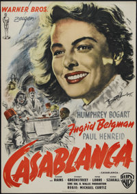 "Casablanca (Warner Brothers, R-1952). German Poster (23"" X 33""). Romantic Drama. Directed by Michael Curtiz. S..."