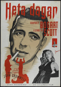 "Dead Reckoning (Columbia, 1947). Swedish Poster (27.5"" X 39.5""). Film Noir. Directed by John Cromwell. Starrin..."