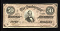 Confederate Notes:1864 Issues, T66 $50 1864. Intense scrutiny leads to finding light handling on this $50. About Uncirculated....