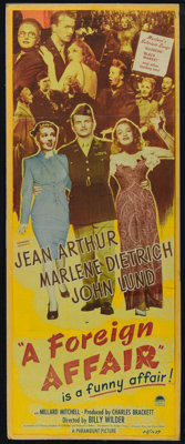 "A Foreign Affair (Paramount, 1948). Insert (12.5"""" X 34.5""). Comedy. Directed by Billy Wilder. Starring J..."