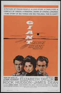 "Giant (Warner Brothers, R-1963). One Sheet (27"" X 41""). Drama. Directed by George Stevens. Starring James Dean..."