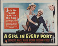 """Movie Posters:Comedy, A Girl in Every Port (RKO, 1952). Half Sheet (22"""" X 28""""). Comedy. Directed by Chester Erskine. Starring Groucho Marx, Marie ..."""