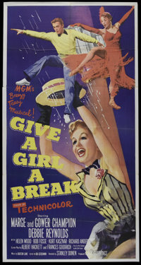 """Give a Girl a Break (MGM, 1953). Three Sheet (41"""" X 81""""). Musical. Directed by Stanley Donen. Starring Marge C..."""