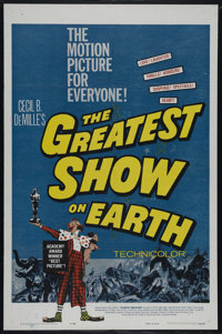 """The Greatest Show On Earth (Paramount, R-1960). One Sheet (27"""" X 41""""). Adventure Drama. Directed by Cecil B. D..."""
