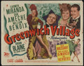 """Movie Posters:Musical, Greenwich Village (20th Century Fox, 1944). Half Sheet (22"""" X 28""""). Musical Comedy. Directed by Walter Lang. Starring Carmen..."""