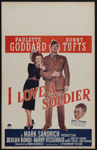 """I Love a Soldier (Paramount, 1944). Window Card (14"""" X 22""""). Comedy. Directed by Mark Sandrich. Starring Paule..."""