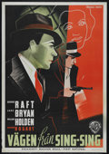 "Movie Posters:Crime, Invisible Stripes (Warner Brothers, 1939). Swedish Poster (27.5"" X39.5""). Crime. Directed by Lloyd Bacon. Starring George R..."