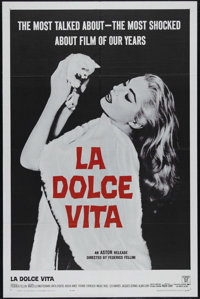 "La Dolce Vita (Astor, 1961). One Sheet (27"" X 41""). Comedy/Drama. Directed by Federico Fellini. Starring Marce..."