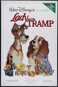 "Lady and the Tramp (Disney, R-1986). One Sheet (27"" X 41""). Family. Directed by Clyde Geronimi, Wilfred Jackso..."