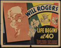 """Movie Posters:Comedy, Life Begins at 40 (Fox, 1935). Half Sheet (22"""" X 28""""). Comedy. Directed by George Marshall. Starring Will Rogers, Rochelle H..."""