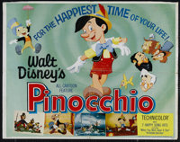 "Pinocchio (Buena Vista, R-1962). Half Sheet (22"" X 28""). Animated Fantasy. Directed by Walt Disney, Norman Fer..."