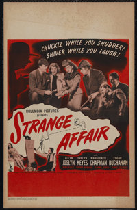 "Strange Affair (Columbia, 1944). Window Card (14"" X 22""). Mystery. Directed by Alfred E. Green. Starring Allyn..."
