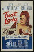 "Movie Posters:Adventure, That Lady (20th Century Fox, 1955). One Sheet (27"" X 41"").Historical Drama. Directed by Terence Young. Starring GilbertRol..."
