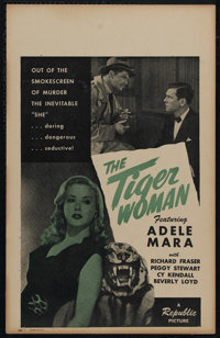 "The Tiger Woman (Republic, 1944). Window Card (14"" X 22""). Crime. Directed by Philip Ford. Starring Adele Mara..."