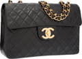 """Luxury Accessories:Accessories, Chanel Black Quilted Lambskin Leather Jumbo Single Flap Bag withGold Hardware. Very Good to Excellent Condition. 12""""..."""