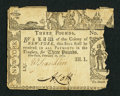 Colonial Notes:New York, New York February 16, 1771 £3 Very Fine, damaged.. ...