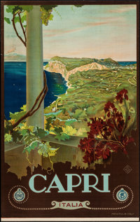 "Capri, Italian Travel Poster by Mario Borgoni (ENIT, Late 1920s-Early 1930s). Travel Poster (25.75"" X 40.5"")..."