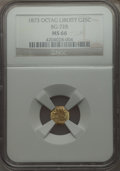 California Fractional Gold , 1873 25C Liberty Head Octagonal 25 Cents, BG-728, R.3, MS66 NGC.NGC Census: (15/5). PCGS Population (23/3). ...