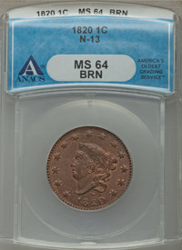 1820 1C Large Date, N-13, R.1, MS64 Brown ANACS. NGC Census: (20/15). PCGS Population (12/2). From The George S. Edwar...