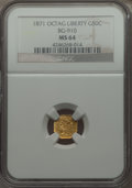 California Fractional Gold , 1871 50C Liberty Octagonal 50 Cents, BG-910, High R.5, MS64 NGC.NGC Census: (1/1). PCGS Population (5/2). . From The El...