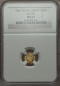California Fractional Gold , 1867 50C Liberty Octagonal 50 Cents, BG-905, Low R.5, MS64 NGC. NGCCensus: (4/7). PCGS Population (14/13). . From The E...