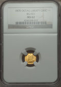 California Fractional Gold , 1870 50C Liberty Octagonal 50 Cents, BG-921, Low R.5, MS62 NGC. NGCCensus: (1/0). PCGS Population (17/4). . From The El...