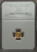 California Fractional Gold , 1870 50C Liberty Octagonal 50 Cents, BG-909, R.6, MS64 NGC. NGCCensus: (2/1). PCGS Population (5/3). . From The Elbert ...