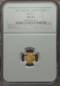 California Fractional Gold , 1871 50C Liberty Octagonal 50 Cents, BG-911, R.4, MS65 NGC. NGCCensus: (4/7). PCGS Population (12/6). . From The Elbert...