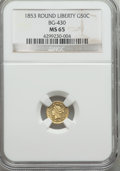 California Fractional Gold , 1853 50C Liberty Round 50 Cents, BG-430, R.3, MS65 NGC. NGC Census:(2/0). PCGS Population (6/1). ...