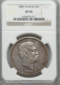 Coins of Hawaii , 1883 $1 Hawaii Dollar XF45 NGC. NGC Census: (74/219). PCGSPopulation (185/273). Mintage: 46,348. ...