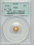 California Fractional Gold , 1872/1 25C Indian Octagonal 25 Cents, BG-790, R.3, MS65 PCGS. PCGSPopulation (31/6). NGC Census: (3/0). ...