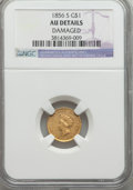 Gold Dollars, 1856-S G$1 Type Two -- Damaged -- NGC Details. AU. NGC Census: (18/172). PCGS Population (28/98). Mintage: 24,600. Numismed...