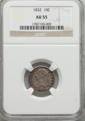 Bust Dimes: , 1832 10C AU55 NGC. NGC Census: (24/196). PCGS Population (50/164). Mintage: 522,500. Numismedia Wsl. Price for problem free...