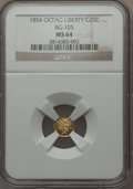 California Fractional Gold , 1854 25C Liberty Octagonal 25 Cents, BG-105, R.3, MS64 NGC. NGCCensus: (14/14). PCGS Population (71/27). ...