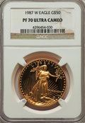 Modern Bullion Coins, 1987-W G$50 One-Ounce Gold Eagle PR70 Ultra Cameo NGC. NGC Census: (1348). PCGS Population (511). Numismedia Wsl. Price fo...