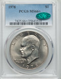 Eisenhower Dollars, 1978 $1 MS66+ PCGS. CAC. PCGS Population (388/5). NGC Census: (163/5). Mintage: 25,702,000. Numismedia Wsl. Price for probl...