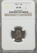 Bust Dimes: , 1831 10C AU58 NGC. NGC Census: (43/170). PCGS Population (37/146).Mintage: 771,350. Numismedia Wsl. Price for problem free...