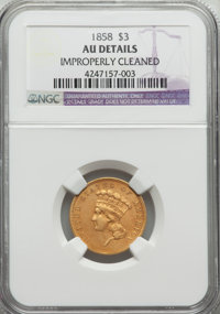 1858 $3 -- Improperly Cleaned -- NGC Details. AU. NGC Census: (10/71). PCGS Population (18/64). Mintage: 2,133. Numismed...