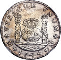 Mexico, Mexico: Philip V 8 Reales 1744 Mo-MF UNC Details (SurfaceHairlines) NGC,...