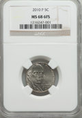 Jefferson Nickels, 2010-P 5C MS68 Six Full Steps NGC. . From The Steve Strom Collection....