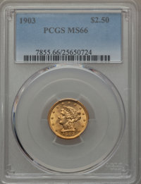 1903 $2 1/2 MS66 PCGS. PCGS Population (276/69). NGC Census: (307/96). Mintage: 201,000. Numismedia Wsl. Price for probl...